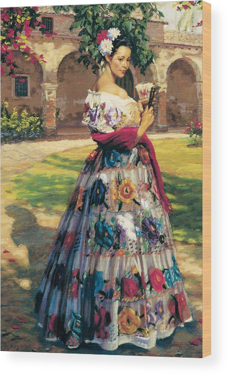 Woman Elaborately Embroidered Mexican Dress. Background Mission San Juan Capistrano. Wood Print featuring the painting Al Aire Libre by Jean Hildebrant