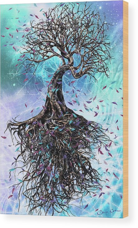 Tree Wood Print featuring the mixed media At the Root of All Things by Chris Cole