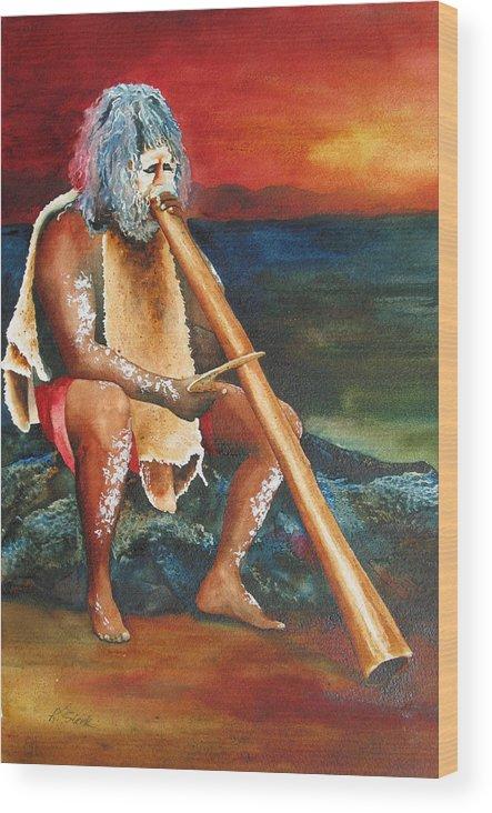 Australian Wood Print featuring the painting Australian Solo by Karen Stark