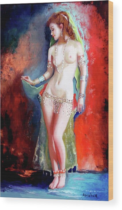 Women.bellydancer Wood Print featuring the painting Belly Dancer 4 by Jose Manuel Abraham