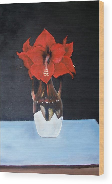 Flowers Wood Print featuring the painting Big Red Flowers by Martha Mullins
