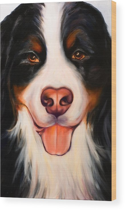 Dog Wood Print featuring the painting Big Willie by Shannon Grissom