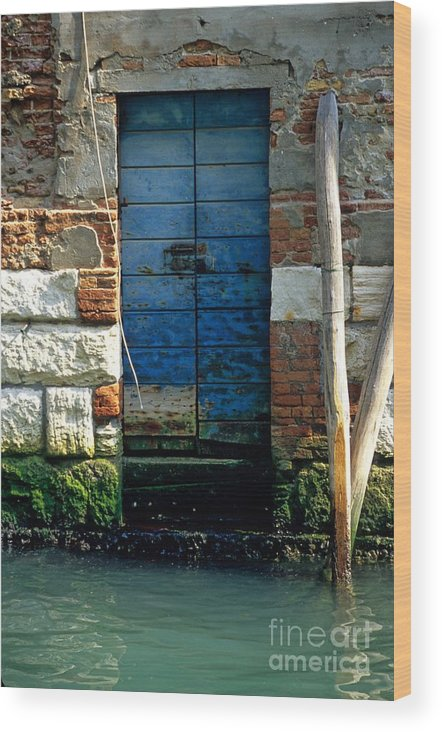 Venice Wood Print featuring the photograph Blue Door in Venice by Michael Henderson