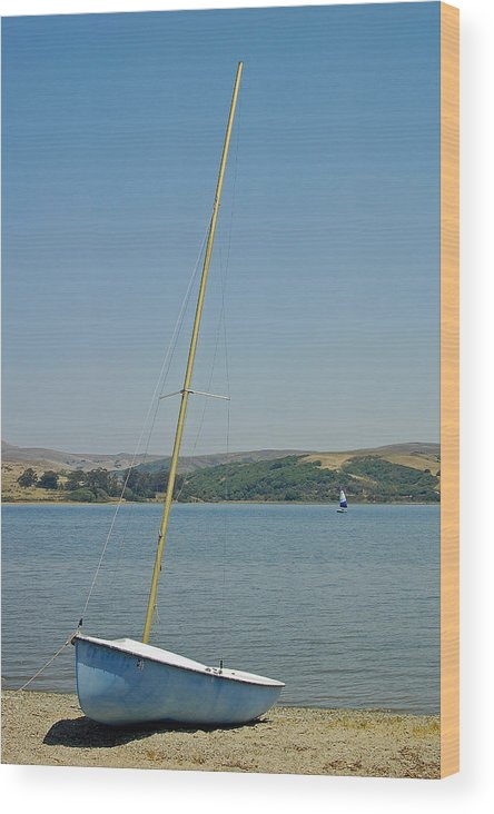 Blue Wood Print featuring the photograph Blue Sailboat by Suzanne Gaff