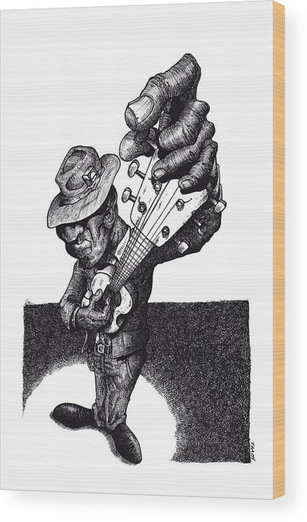 Blues Wood Print featuring the drawing Blues Guitar by Tobey Anderson