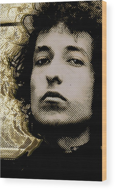 Bob Dylan Wood Print featuring the painting Bob Dylan 2 Vertical by Tony Rubino