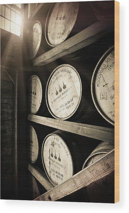 Bourbon Barrel Wood Print featuring the photograph Bourbon Barrels by Window Light by Karen Varnas