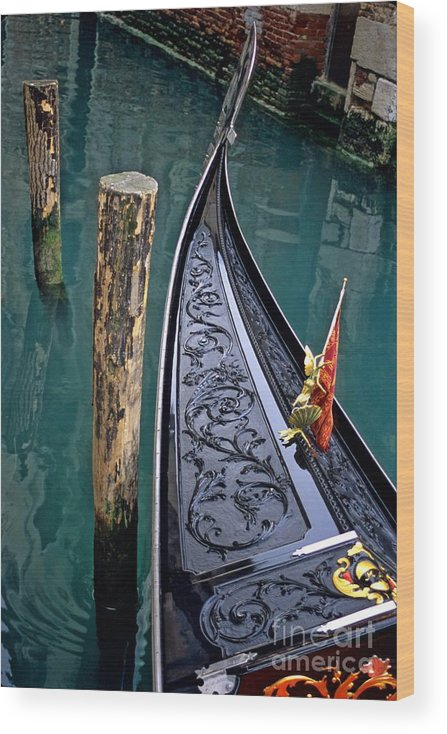 Italy Wood Print featuring the photograph Bow Of Gondola In Venice by Michael Henderson
