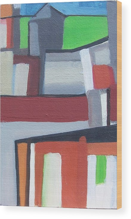 Cityscape Wood Print featuring the painting Brooklyn roofs by Ron Erickson