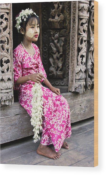 075burma's Golden Pagodaasia Wood Print featuring the photograph Burmese Flower Vendor by Michele Burgess