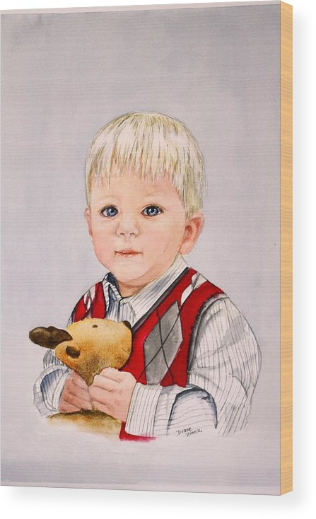 Portrait Wood Print featuring the painting Calvin by Diane Ziemski