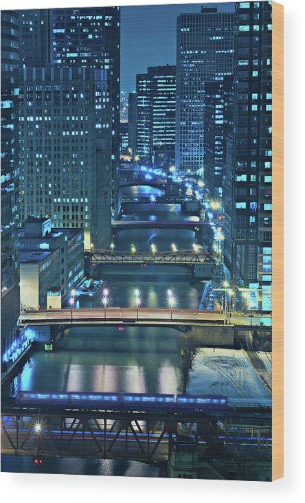Chicago Wood Print featuring the photograph Chicago Bridges by Steve Gadomski