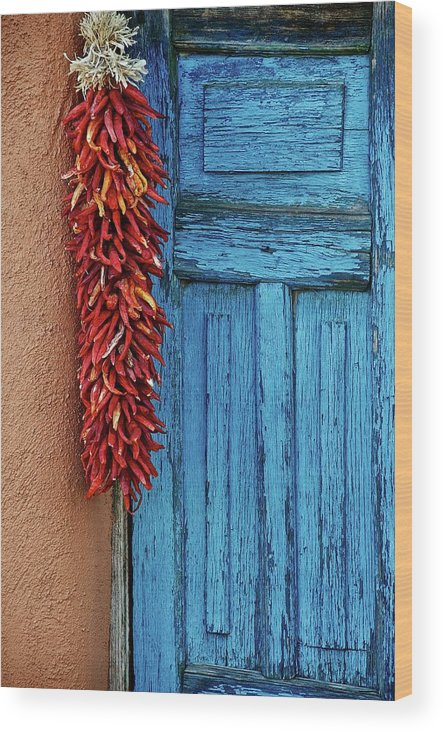 Southwest Wood Print featuring the photograph Chili Peppers and Door Panel by Zayne Diamond Photographic