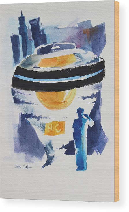 Police Wood Print featuring the painting Cmpd Fallen. by Josh Chilton