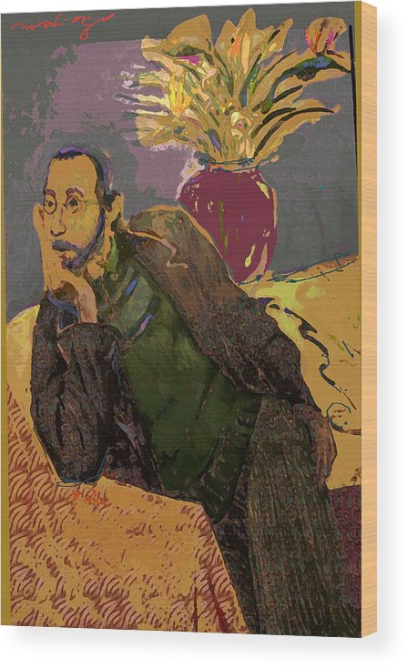Self Portrait Wood Print featuring the painting Contemplation Stage by Noredin Morgan