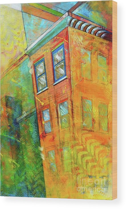 Building Wood Print featuring the painting Cornice by Christopher Triner