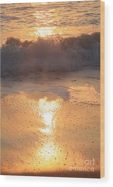 Waves Wood Print featuring the photograph Crashing Wave at Sunrise by Nadine Rippelmeyer