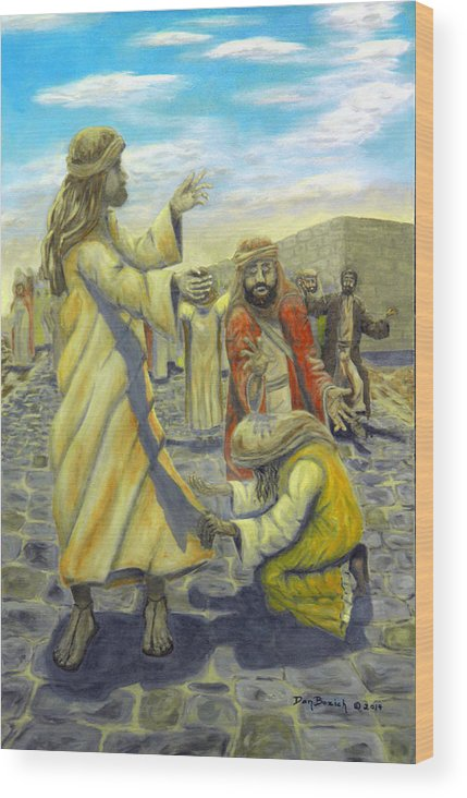 Christ Wood Print featuring the painting Daughter your faith has Healed you by Dan Bozich