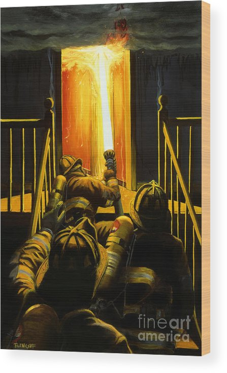 Firefighting Wood Print featuring the painting Devil's Stairway by Paul Walsh
