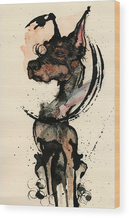 Dog Wood Print featuring the painting Doberman by Mark M Mellon