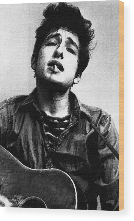 Bob Dylan Wood Print featuring the painting Dylan by Tony Rubino