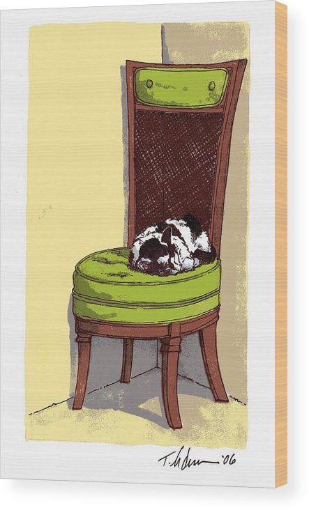 Cat Wood Print featuring the drawing Ernie and Green Chair by Tobey Anderson