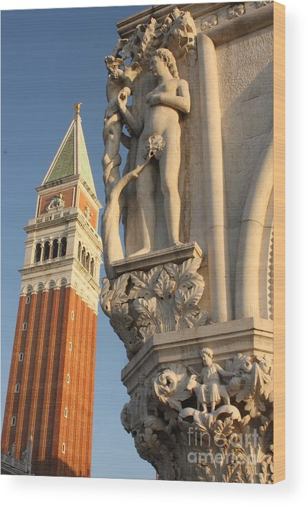 Venice Wood Print featuring the photograph Eve and Bell Tower in Venice at San Marco by Michael Henderson