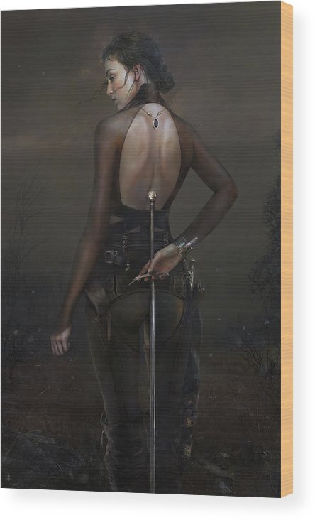 Warrioress Wood Print featuring the painting Fields by Eve Ventrue