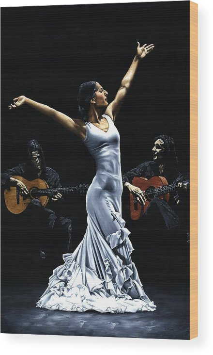 Flamenco Wood Print featuring the painting Finale del Funcionamiento del Flamenco by Richard Young