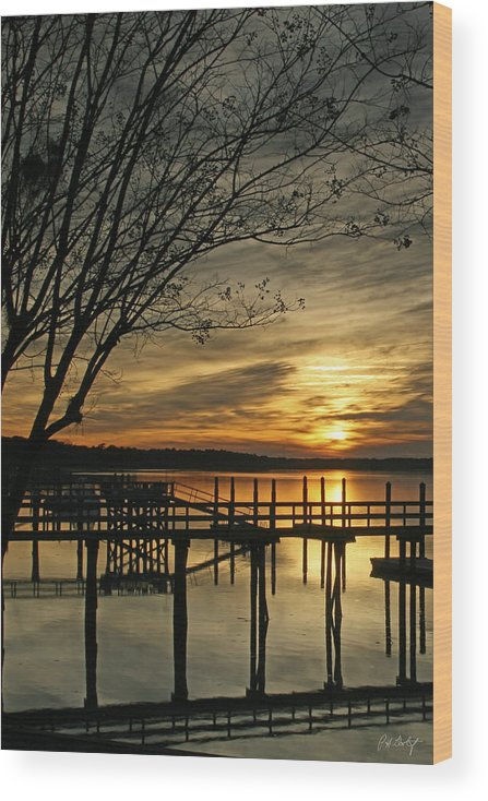 Sunset Wood Print featuring the photograph Flat Water by Phill Doherty