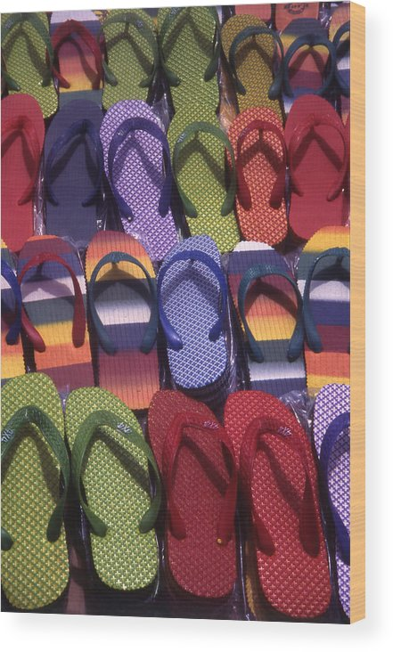 Abstract Wood Print featuring the photograph Flip Flops by Steve Outram