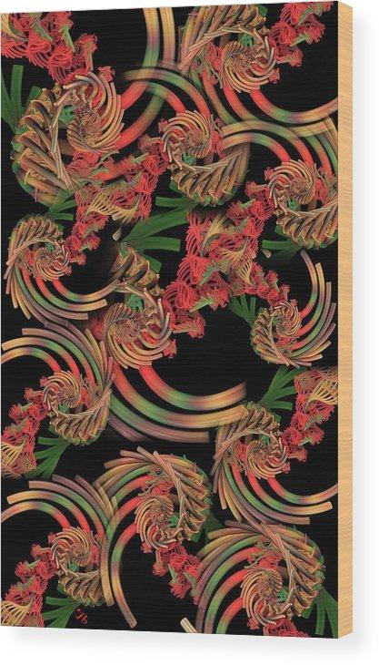 Fractal Wood Print featuring the digital art Fractal Patterning by Ron Bissett