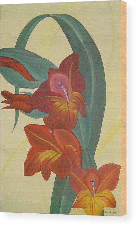 Marinella Owens Wood Print featuring the painting Gandavensis Hybrid by Marinella Owens