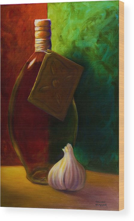 Shannon Grissom Wood Print featuring the painting Garlic And Oil by Shannon Grissom