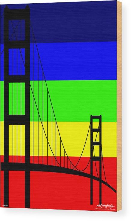 Golden Gate Wood Print featuring the digital art Golden Gay by Asbjorn Lonvig