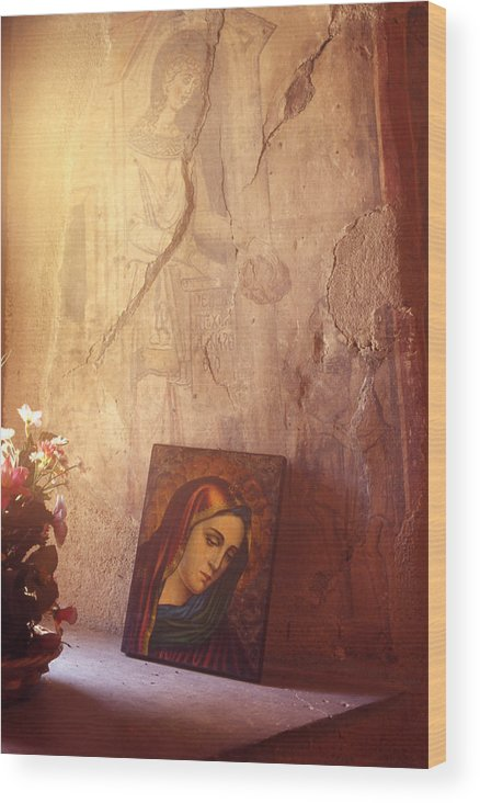 Art Wood Print featuring the painting Greece. Lesvos. 16th Century Fresco and Virgin Mary Icon by Steve Outram