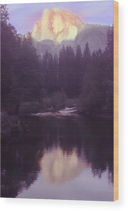 Halfdome Wood Print featuring the photograph Halfdome over the Merced by Richard Henne