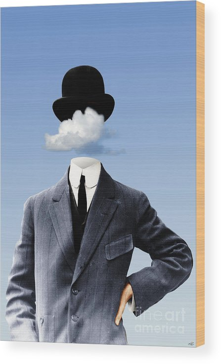 head In The Clouds Wood Print featuring the digital art Head In The Clouds by Kenneth Rougeau