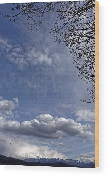 Abstract Wood Print featuring the photograph Herd of clouds on the sky over Fagaras Mountains Romania by Adrian Bud