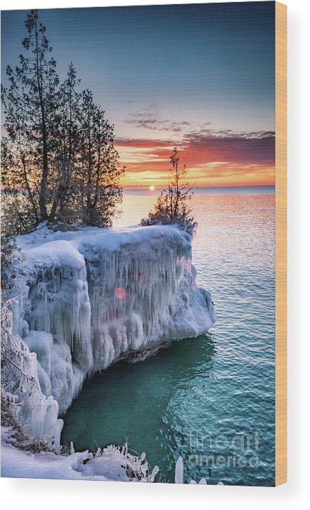 Door County Wood Print featuring the photograph Icicle Cliffs by Ever-Curious Photography