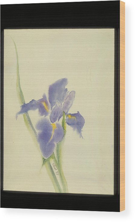 Watercolor Wood Print featuring the painting Japanese Iris by Nancy Ethiel