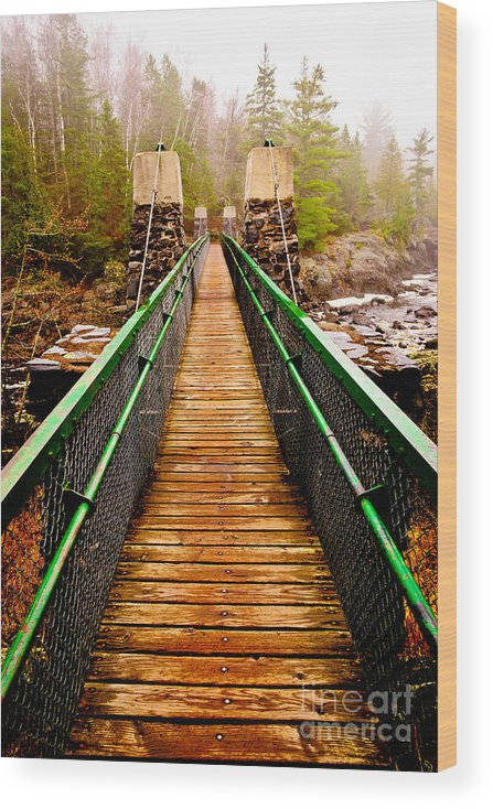 Jay Cooke Wood Print featuring the photograph Jay Cooke Swinging Bridge In Fog by Ever-Curious Photography