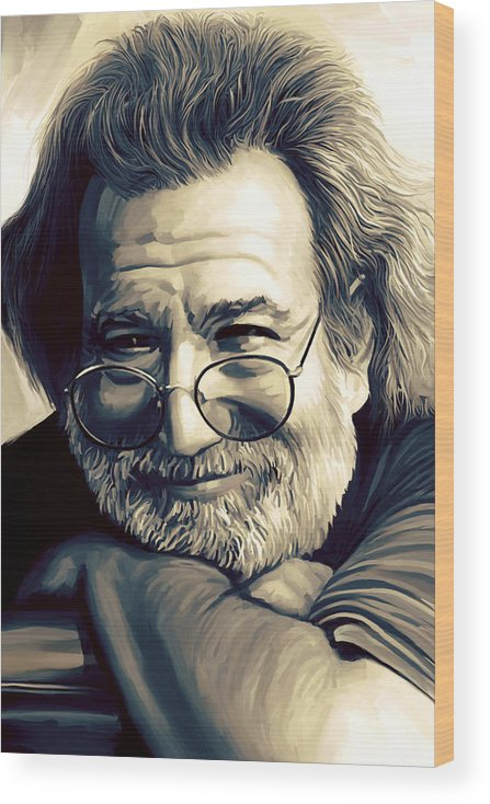 Jerry Garcia Paintings Wood Print featuring the painting Jerry Garcia Artwork by Sheraz A
