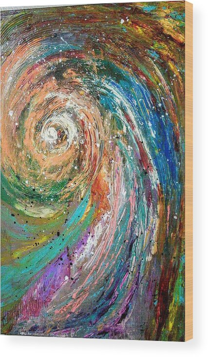 Spinning Colors Wood Print featuring the painting Joy by Valerie Josi