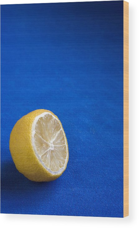 Blue Wood Print featuring the photograph Just a Lemon by Steve Outram