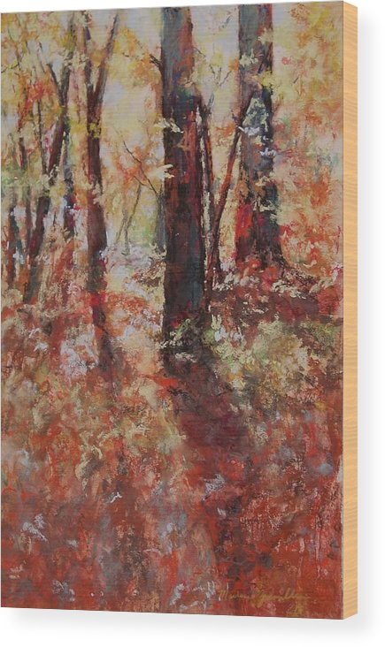 Landscape Wood Print featuring the painting Just Waking by Marlene Gremillion