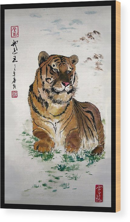 Tiger Wood Print featuring the painting King on the Earth by Lilian Storino
