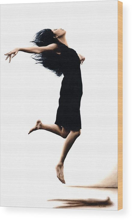 Ballet Wood Print featuring the painting Leap into the Unknown by Richard Young