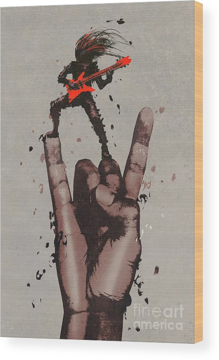 Illustration Wood Print featuring the painting Let's Rock by Tithi Luadthong