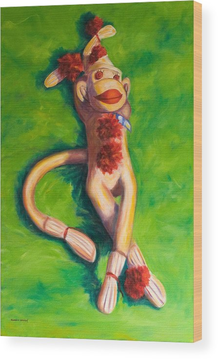 Sock Monkey Wood Print featuring the painting Life Is Good by Shannon Grissom
